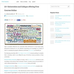 25 Universities and Colleges offering Free Courses Online