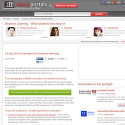 10 top UK Universities for distance learning - DistanceLearningPortal.com