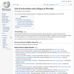 List of universities and colleges in Slovakia