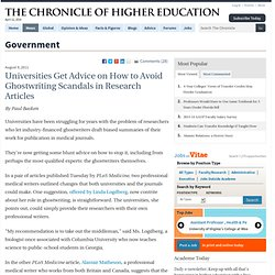 Universities Get Advice on How to Avoid Ghostwriting Scandals in Research Articles - Government