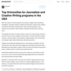 Top Universities for Journalism and Creative Writing programs in the USA