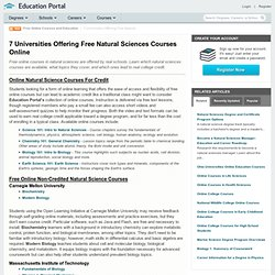7 Universities Offering Free Natural Sciences Courses Online
