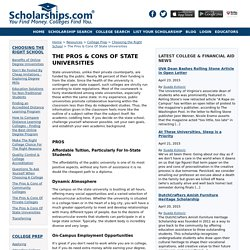 The Pros And Cons Of State Universities - Choosing The Right School - College Prep - Resources - Scholarships.com
