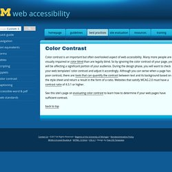 Color Contrast: Best Practices: University of Michigan Web Accessibility