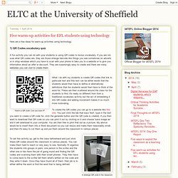 Five warm-up activities for EFL students using technology