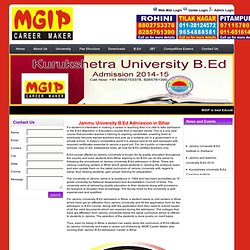 Jammu University B.Ed Admission Bihar