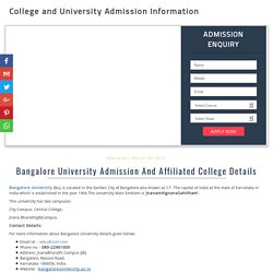Bangalore University Admission And Affiliated College Details - 2017-18