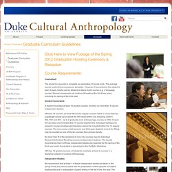 Cultural Anthropology: Graduate Curriculum Guidelines