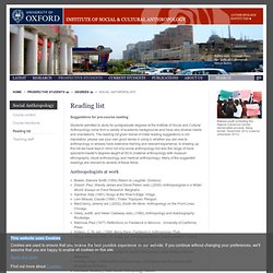 Reading list - University of Oxford: Institute of Social and Cultural Anthropology