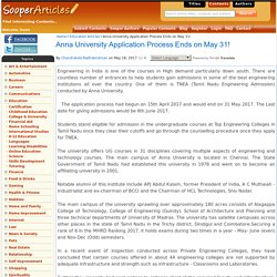 Anna University Application Process Ends on May 31!