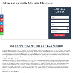 OPJS University BCI Approved B.A + L.L.B Admission - 2017-18