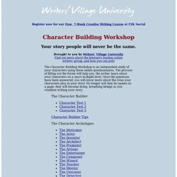 Character Building Workshop - Writers' Village University - Archetypal Characters