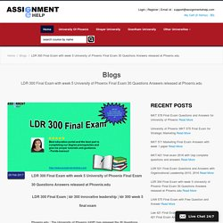 LDR 300 Final Exam with week 5 University of Phoenix Final Exam 30 Questions Answers released at Phoenix.edu