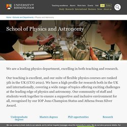 School Calendar - Physics and Astronomy, University of Birmingham