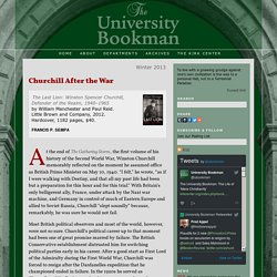 The University Bookman: Churchill After the War