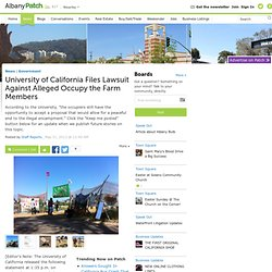 University of California Files Lawsuit Against 14 Alleged Occupy the Farm Members