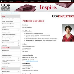 Professor Gail Gillon - People - College of Education - University of Canterbury - New Zealand