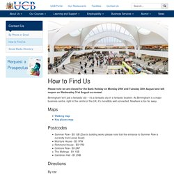 How to Find Us - University College Birmingham