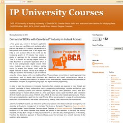IP University Courses: Demand of BCA's with Growth in IT Industry in India & Abroad