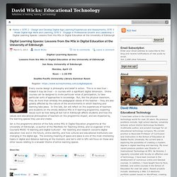 Digital Learning Spaces: Lessons from the MSc in Digital Education at the University of Edinburgh