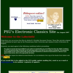 Penn State University's Electronic Classics Series Site: Download Great Literary Works in PDF Penn State's Electronic Classics Series Site