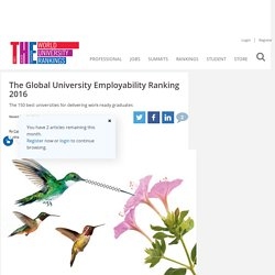 The Global University Employability Ranking 2016