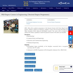 PhD Degree Courses in Mechanical Engineering - SPSU Udaipur