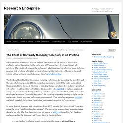 The Effect of University Monopoly Licensing in 3d Printing | Research Enterprise
