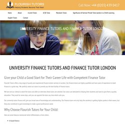 University Finance Tutors & ISE Finance Tutor London