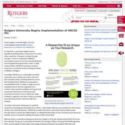 Rutgers University Begins Implementation of ORCID iDs