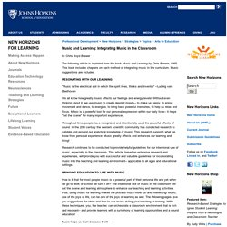 Johns Hopkins University School of Education Music and Learning: Integrating Music in the Classroom