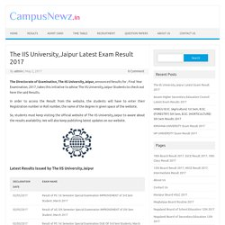 The IIS University,Jaipur Latest Exam Result 2017 The IIS University,