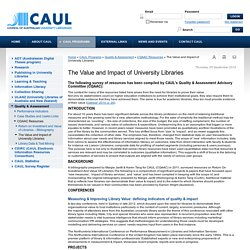 The Value and Impact of University Libraries - resources for CAUL