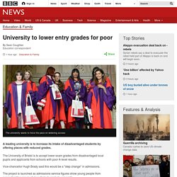 University to lower entry grades for poor