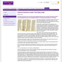 "ScienceHistorian cracks ""the Plato code"""