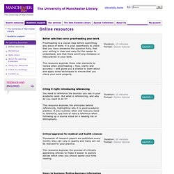Online resources (The University of Manchester Library