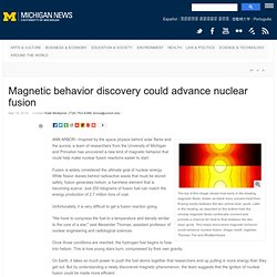 Magnetic behavior discovery could advance nuclear fusion