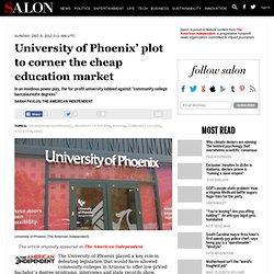 University of Phoenix' plot to corner the cheap education market