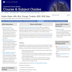 IEEE Style - Citation Styles: APA, MLA, Chicago, Turabian, IEEE - LibGuides at University of Pittsburgh