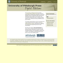 University of Pittsburgh Press Digital Editions