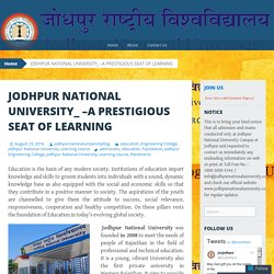 JODHPUR NATIONAL UNIVERSITY_ –A PRESTIGIOUS SEAT OF LEARNING