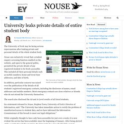Nouse.co.uk » University leaks private details of entire student body