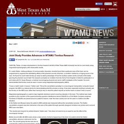 West Texas A&M University: Joint Study Provides Advances in WTAMU Tinnitus Research