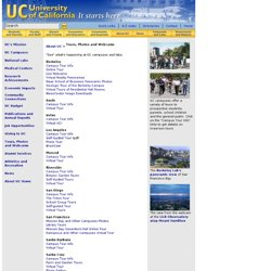 Tours, photos, images, webcams - Overview of the University of California system, including public benefits, publications, tours and jobs at 10 campuses, 5 medical centers and 3 national labs