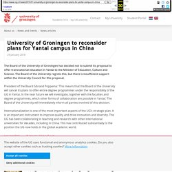 University of Groningen to reconsider plans for Yantai campus in China