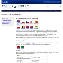Duke University Slavic Centers : Reference Grammars