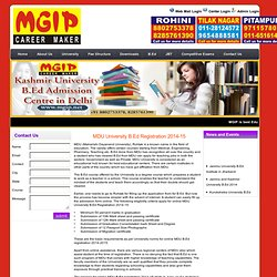 MDU University B.Ed Registration 2014-15