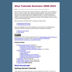 University Alice Materials Tutorials Repository