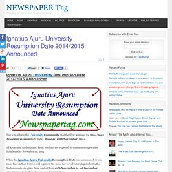 Ignatius Ajuru University Resumption Date 2014/2015 Announced - NEWSPAPER Tag