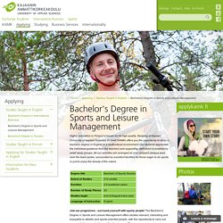 Kajaani University of Applied Sciences – Bachelor's Degree in Sports and Leisure Management